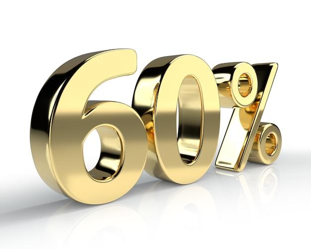 60 per cento simbolo blu isolato su sfondo bianco. rendering 3d