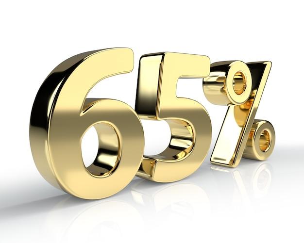 65 per cento simbolo blu isolato su sfondo bianco. rendering 3d