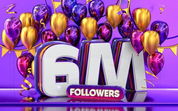 Celebrazione di 6 milioni di follower grazie banner sui social media con rendering 3d di palloncini viola e oro