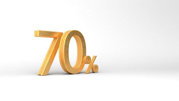 70 numeri d'oro con percentuale. rendering 3d, 3d, illustrazione 3d.