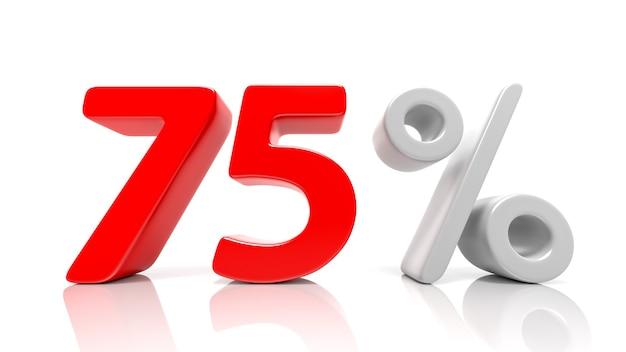 75 per cento simbolo blu isolato su sfondo bianco. rendering 3d