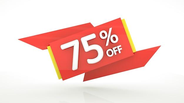 75 percento di sconto sul modello di banner con cifre rosse settantacinque percento buono sconto di vendita