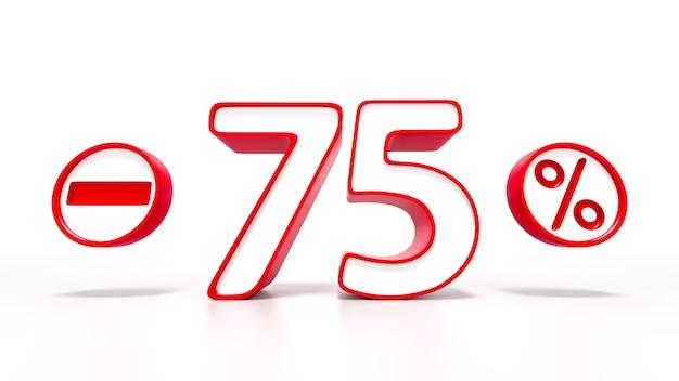 75 per cento simbolo rosso isolato su sfondo bianco. rendering 3d