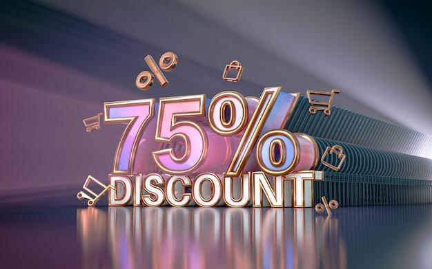 75% di sconto offerta speciale sfondo per social media poster promozionale 3d rendering