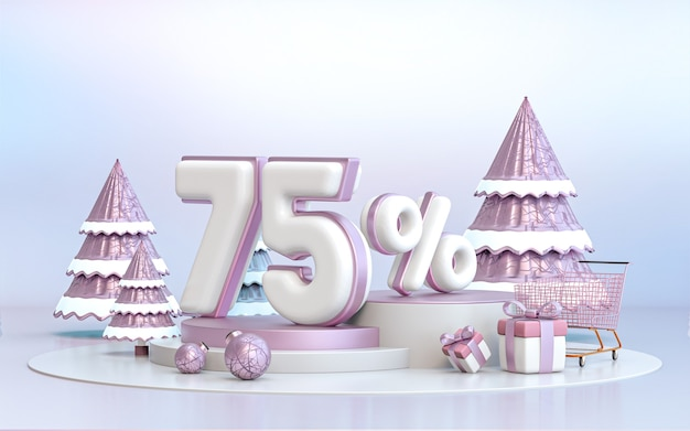 75% di sconto offerta speciale invernale sfondo per social media poster promozionale 3d rendering