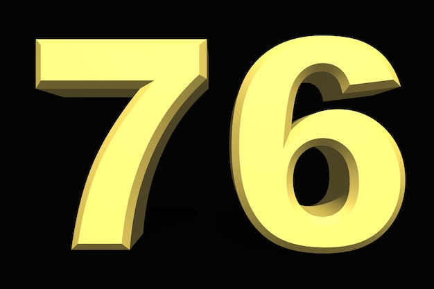 76 settantasei numero 3d blu su sfondo scuro