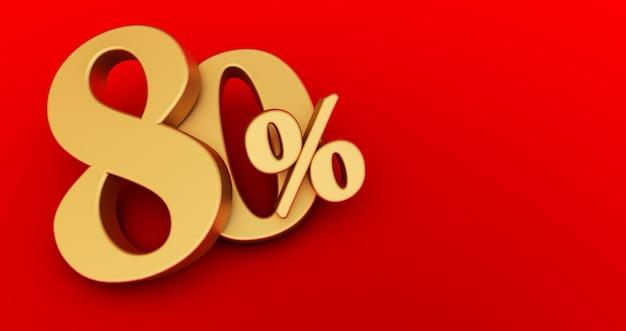 80% di sconto. oro ottanta per cento. oro ottanta per cento su sfondo rosso. rendering 3d.