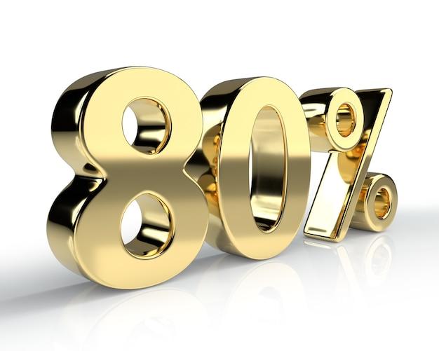 80 per cento simbolo blu isolato su sfondo bianco. rendering 3d