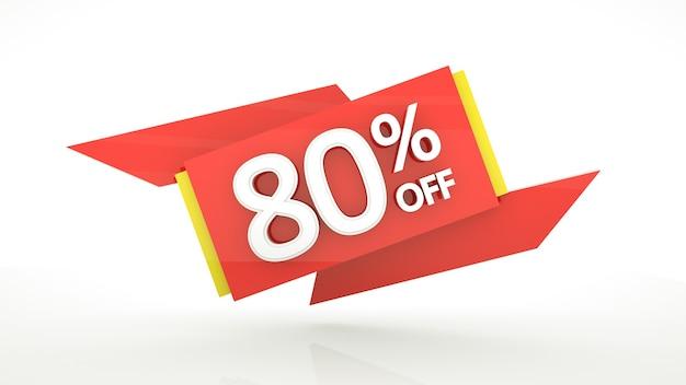 L'80% di sconto 3d rende il banner con cifre rosse l'ottanta percento rosso giallo bianco lucido numeri