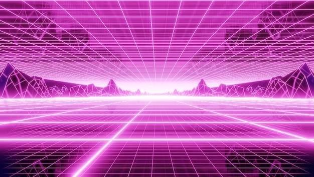 Retro grid mountain background degli anni '80 nella scena artistica retrò degli anni '80.