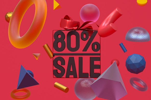 80% di vendita con fiocco e nastro 3d design su sfondo di geometria astratta