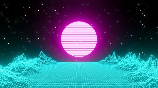 Sfondo retrò anni '80. notte di città paesaggio futuristico con sole e montagna. luce al neon futura dello stile anni '80. rendering 3d di banner.