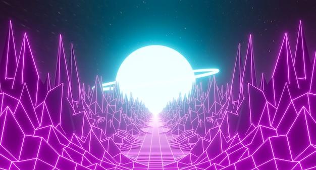 80s retro città futuristica sfondo astratto griglia design del paesaggio. gioco 3d che rende l'illustrazione dello spazio della galassia di luce al neon rosa viola scuro con la montagna dell'orizzonte degli anni '80