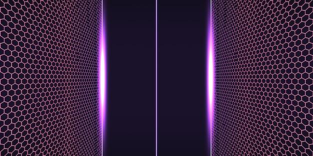 Griglia al neon in stile vapore anni '80 con illustrazione 3d campo elettrico retrò orizzonte scuro