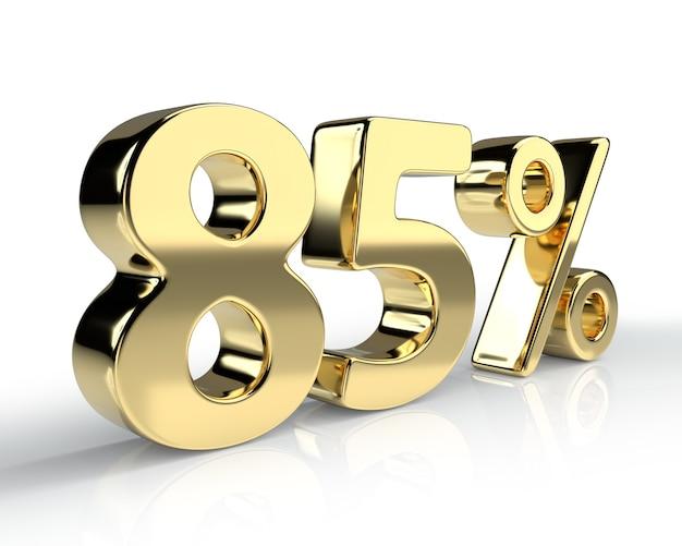 85 per cento simbolo blu isolato su sfondo bianco. rendering 3d