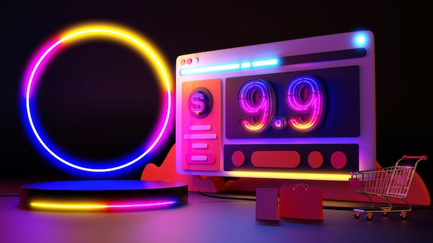 9.9 acquisti online di bagliori di luce al neon. rendering 3d