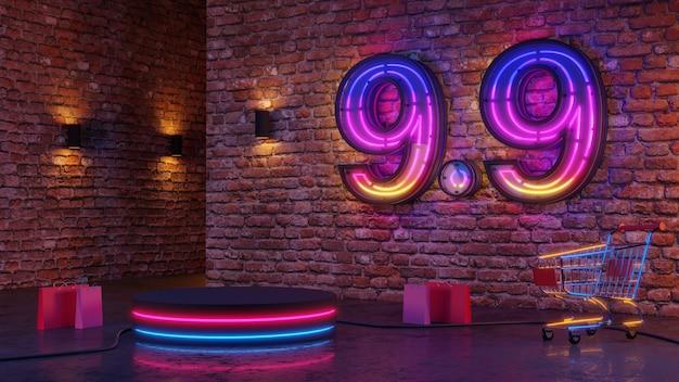 9.9 podio bagliore di luce al neon sullo sfondo del muro di mattoni. rendering 3d