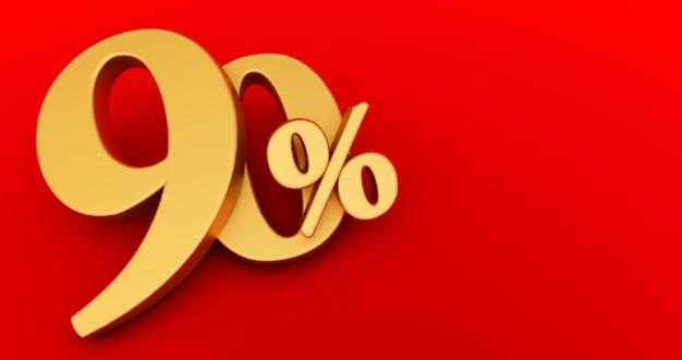 90% di sconto. oro al novanta per cento. oro novanta per cento su sfondo bianco. rendering 3d.