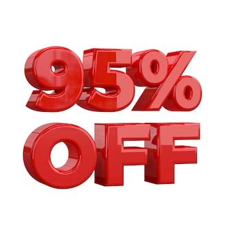 95% di sconto, offerta speciale, grande offerta, vendita. novantacinque per cento