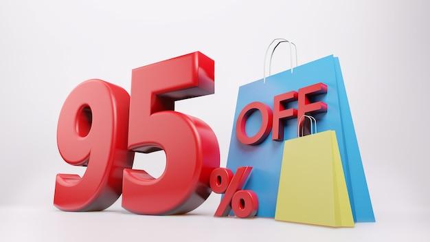 Simbolo del 95% con la borsa della spesa, rendering 3d isolato