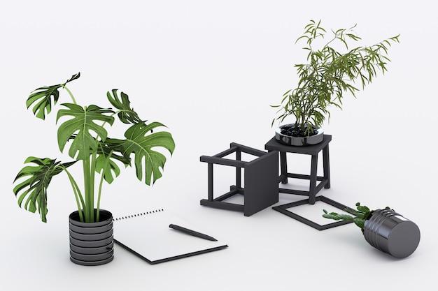 Carta lanciata a4 con la struttura e la penna nere del cactus della pianta in vaso della lavagna per appunti sulla rappresentazione bianca 3d