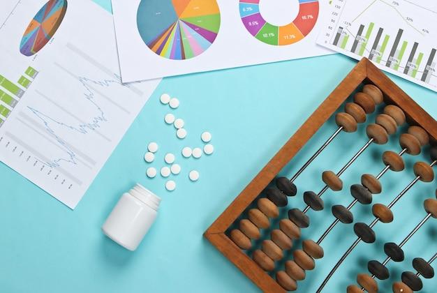 Abaco con grafici e tabelle, bottiglia di pillole su pastello blu.