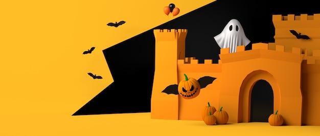 Bandiera abbandonata del partito di halloween del castello. copia spazio. illustrazione 3d.