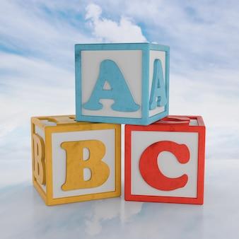 Blocchi abc su sfondo cloud. rendering 3d