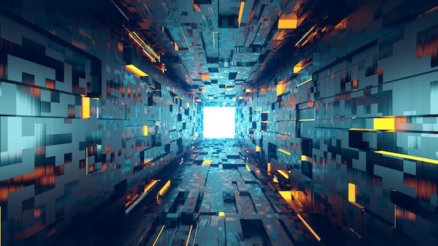 Tunnel astratto di architettura 3d con luce.