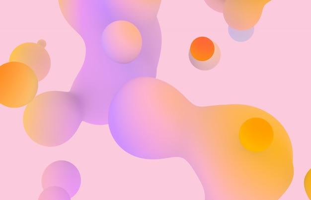 Sfondo astratto arte 3d. macchie di liquido galleggiante pastello olografico, bolle di sapone, metaballs.