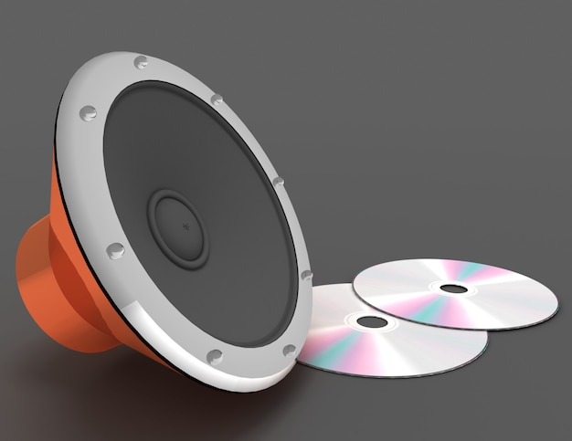 3d astratto dell'altoparlante audio e del disco cd. 3d reso illustrazione
