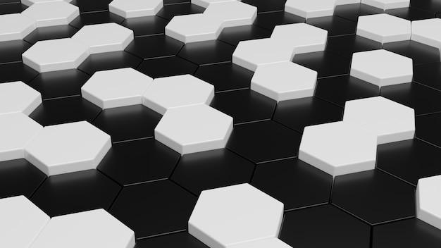 Fondo esagonale in bianco e nero astratto 3d