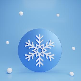 Pulsante fiocco di neve blu 3d astratto su sfondo blu