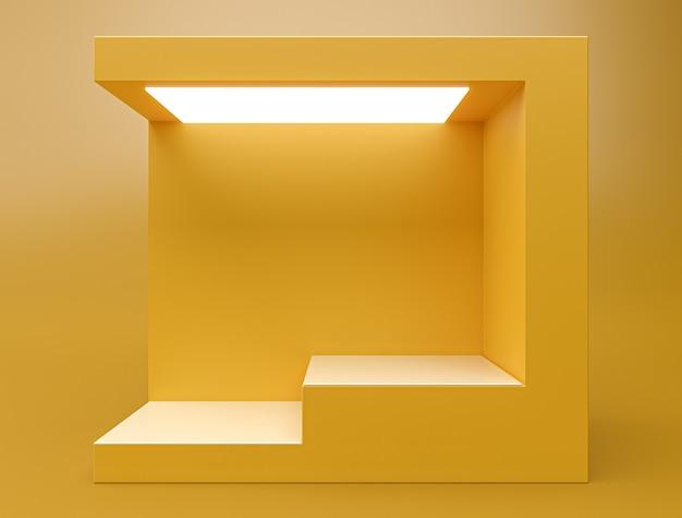 Composizione astratta 3d, podio a due gradini di scena di colore giallo per l'esposizione del prodotto.