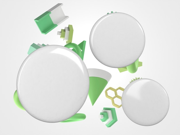 Perni di spazio copia 3d astratta e oggetti di movimento verde