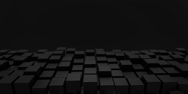 Illustrazione astratta 3d. blocchi neri su sfondo nero.