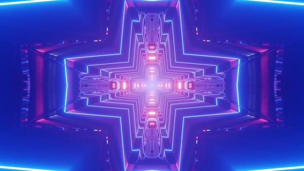 Illustrazione astratta 3d di linee luminose al neon che formano ornamento a forma di croce nel tunnel blu