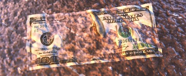 Illustrazione astratta 3d della banconota da un dollaro bagnata sgualcita che riposa sulla terra bagnata ground