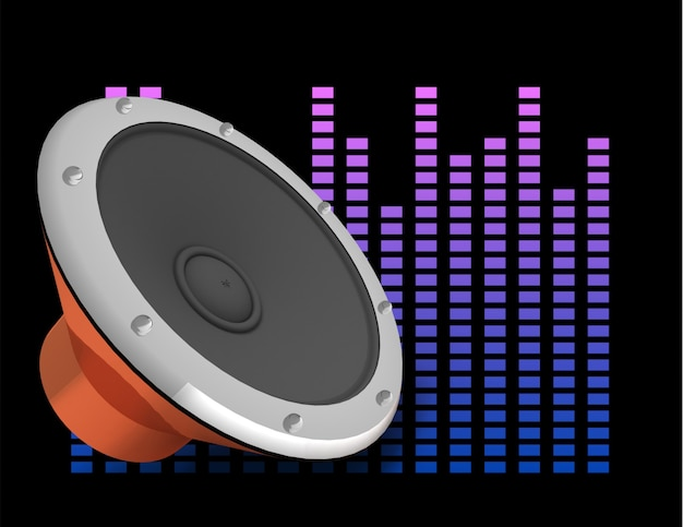 Illustrazione 3d astratta di sfondo scuro con altoparlante audio ed equalizzatore.
