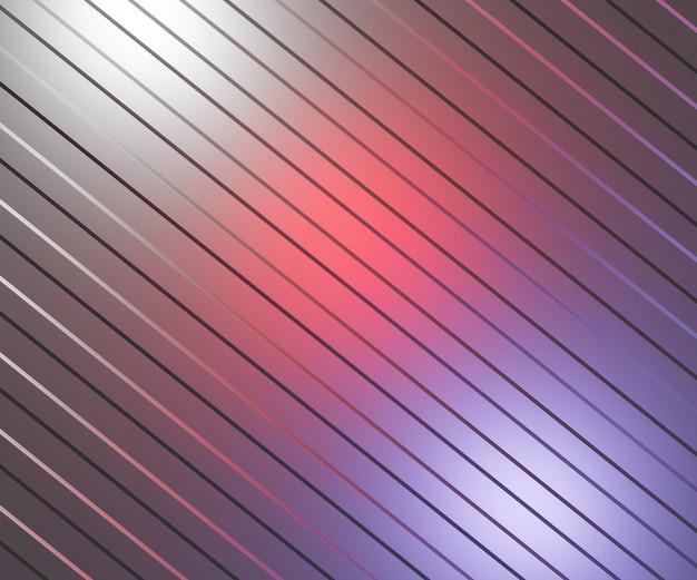 Illustrazione astratta 3d del piatto d'argento con strisce sporgenti diagonali illuminate da sp . colorati