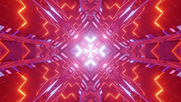 Illustrazione astratta 3d del tunnel simmetrico con ornamento geometrico incandescente con luci al neon colorate