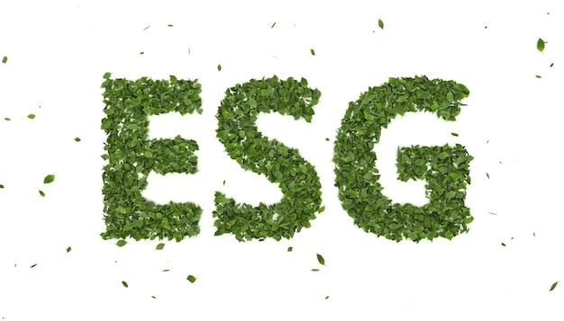 Foglie 3d astratte che formano il simbolo del testo esg su sfondo bianco, fondo di investimento per l'ambiente creativo eco, tendenza futura del business di innovazione energetica verde 2021