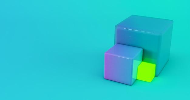 Rendering 3d astratto, sfondo geometrico moderno, sfondo cubo sfumato 3d.