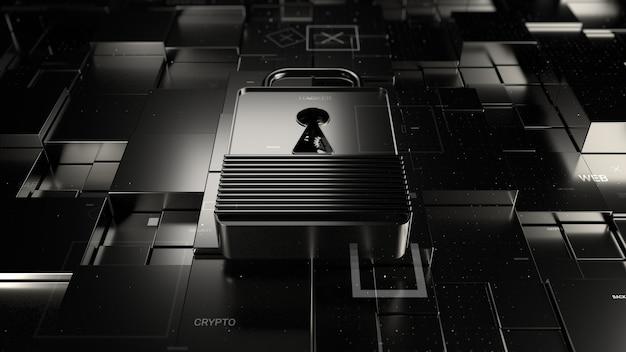 Abstract 3d ha reso lo sfondo della tecnologia. tema digitale. lock giace su una superficie fratturata con primitive quadrate spostate casualmente. materiali metallici ed elementi di particelle.