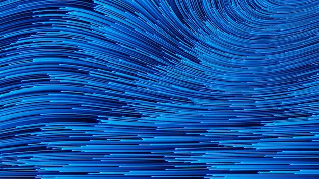 Fondo astratto di tecnologia di rendering 3d con linee di flusso big data e scienza, stile elettronico e digitale, prospettiva dimensionale della rete metallica.