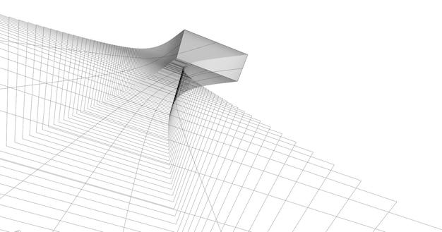 Architettura astratta del wireframe 3d