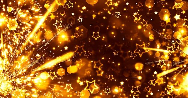 Fondo festivo astratto di natale astratto con scintillio di stelle dorate e fuochi d'artificio luminosi