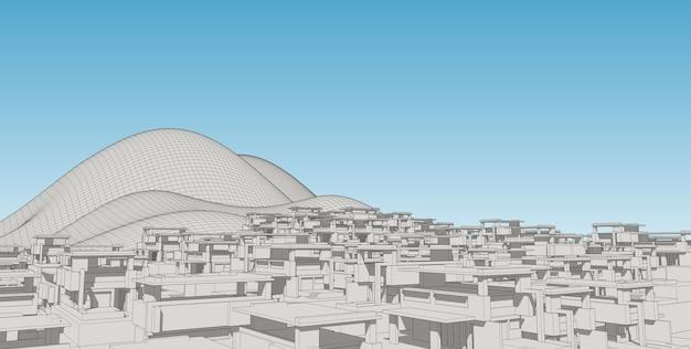 Schizzo di disegno astratto architectral, illustrazione