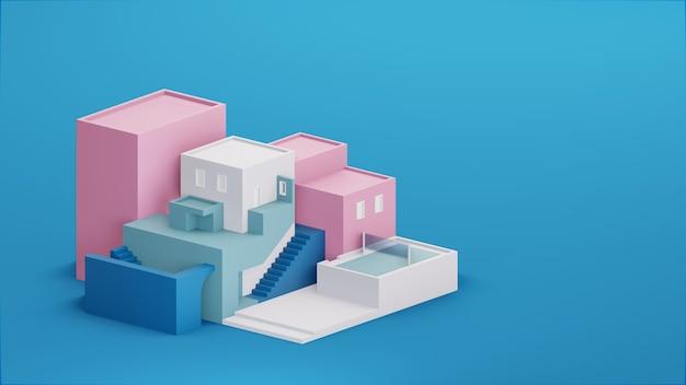 Illustrazione 3d di concetto architettonico astratto