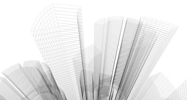 Schizzo di disegno architettonico astratto, illustrazione